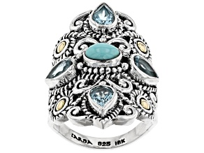 Pre-Owned Turquoise Silver & 18k Gold Accent Ring 1.68ctw