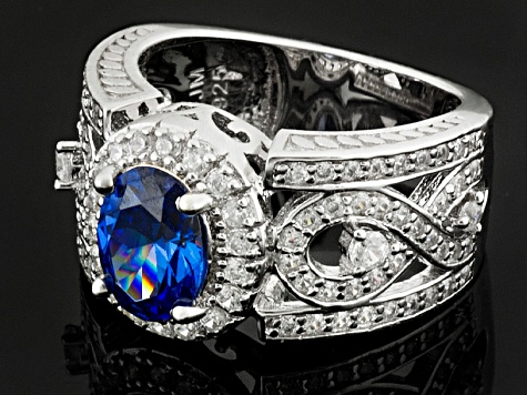 Pre-Owned Blue And White Cubic Zirconia Silver Ring 2.59ctw