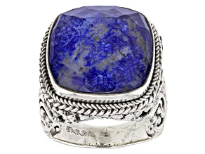 Pre-Owned Blue Lapis Lazuli Doublet Sterling Silver Ring