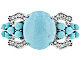 Pre-Owned Blue Turquoise Sterling Silver Ring .14ctw