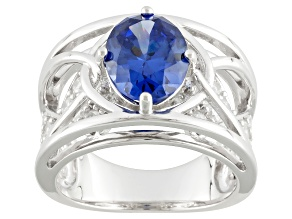 Pre-Owned Blue And White Cubic Zirconia Silver Ring 5.79ctw