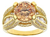 Pre-Owned Brown And White Cubic Zirconia 18k Yellow Gold Over Silver Ring 8.67ctw (5.81ctw DEW)