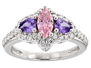 Pre-Owned Pink, Purple And White Cubic Zirconia Rhodium Over Silver Ring 2.73ctw