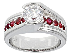Pre-Owned Synthetic Red Corundum And White Cubic Zirconia Silver Ring 2.77ctw
