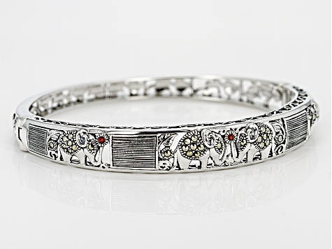 Pre-Owned Red Garnet Sterling Silver Hinged Elephant Bangle .03ctw
