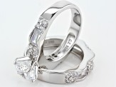 Pre-Owned Cubic Zirconia Silver Ring With Band 6.11ctw (4.02ctw DEW)