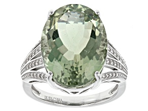 Pre-Owned Green Brazilian Prasiolite Sterling Silver Ring 9.41ctw