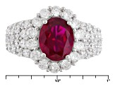 Pre-Owned Synthetic Red Corundum And White Cubic Zirconia 18k Rose Gold Over Silver Ring 6.62ctw