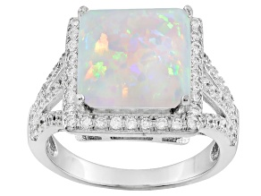 Pre-Owned White Synthetic Opal And White Cubic Zirconia Rhodium Over Silver Ring 2.34ctw