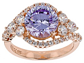 Pre-Owned Purple And White Cubic Zirconia 18k Rose Gold Over Sterling Silver Ring 6.47ctw