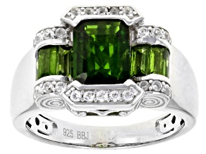 Pre-Owned Green Russian Chrome Diopside Sterling Silver Ring 2.44ctw.