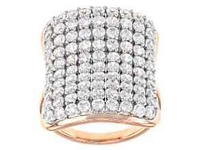 Pre-Owned White Cubic Zirconia 18k Rose Gold Over Sterling Silver Ring 5.90ctw