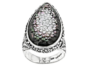 Pre-Owned Black Mother Of Pearl Silver Ring