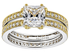 Pre-Owned Cubic Zirconia Silver And 18k Yellow Gold Over Silver Ring With Band 4.03ctw (2.85ctw DEW)