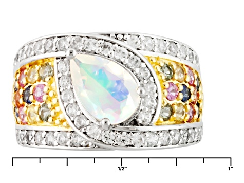Pre-Owned Ethiopian Opal Sterling Silver Ring 2.38ctw