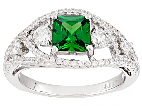 Pre-Owned Green And White Cubic Zirconia Rhodium Over Sterling Silver Ring 2.76ctw