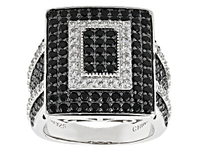 Pre-Owned Black Spinel And White Zircon Sterling Silver Ring 2.51ctw