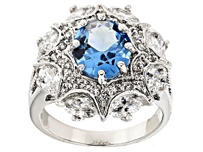 Pre-Owned Synthetic Blue Corundum And White Cubic Zirconia Rhodium Over Sterling Ring 7.41ctw