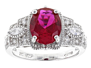 Pre-Owned Red And White Cubic Zirconia Rhodium Over Sterling Silver Ring 3.49ctw