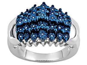 Pre-Owned Blue Diamond Silver Ring .12ctw