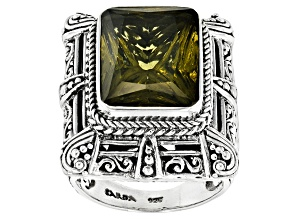Pre-Owned Green Olive Quartz Silver Ring 8.38ct