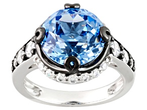 Pre-Owned Blue Synthetic Spinel And White Cubic Zirconia Rhodium Over Silver Ring 7.01ctw