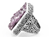 Pre-Owned Pink Doublet Tourmaline in Quartz Silver Ring