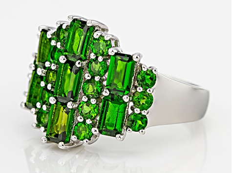 Pre-Owned Green Chrome Diopside Sterling Silver Ring 3.32ctw