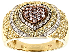 Pre-Owned Yellow, Pink And White Diamond Ring 10k Yellow Gold .85ctw