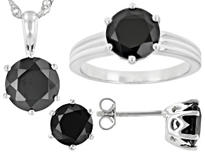 Pre-Owned Black Spinel Silver Ring, Earrings, Pendant With Chain Jewelry Set 9.46ctw