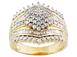 Pre-Owned 1.50ctw Round & Baguette Diamonds 14k Yellow Gold Over Sterling Silver Cluster Ring