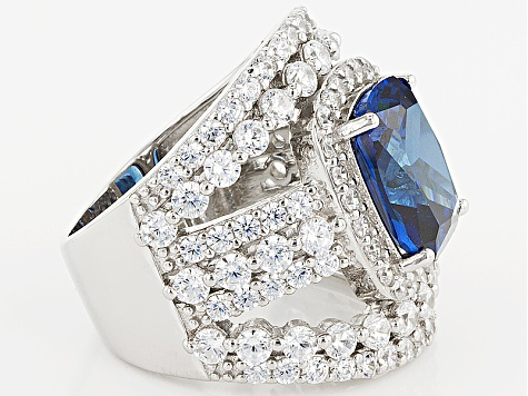 Pre-Owned Blue And White Cubic Zirconia Rhodium Over Silver Ring 15.90ctw