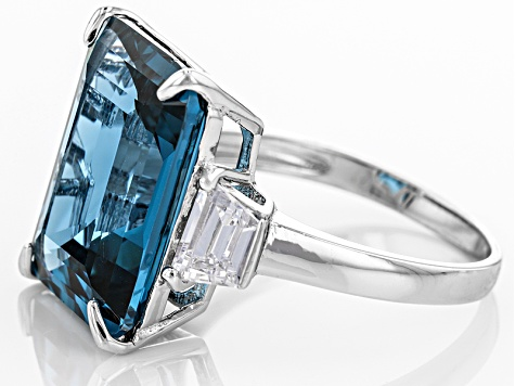 Pre-Owned Blue And White Cubic Zirconia Rhodium Over Sterling Silver Ring 14.50ctw