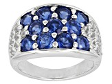 Pre-Owned Blue Nepalese Kyanite And White Topaz Sterling Silver Band Ring 3.62ctw