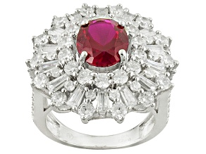 Pre-Owned Red And White Cubic Zirconia Rhodium Over Sterling Silver Ring 10.25ctw