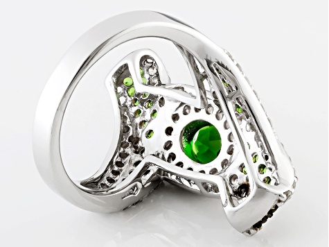 Pre-Owned Green Chrome Diopside And White Zircon Sterling Silver Ring 2.81ctw