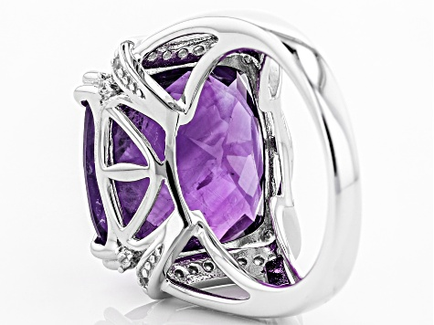 Pre-Owned Purple amethyst rhodium over sterling silver ring 15.52ctw