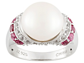 Pre-Owned White Cultured Freshwater Pearl, Red Spinel, White Topaz Silver Ring