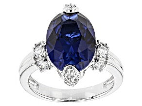 Pre-Owned Lab Created Sapphire And White Cubic Zirconia Rhodium Over Sterling Ring 7.68ctw.