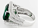 Pre-Owned Green And White Cubic Zirconia Silver Ring 10.00ctw