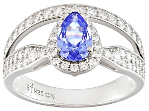 Pre-Owned Blue And White Cubic Zirconia Rhodium Over Sterling Silver Ring 4.00ctw
