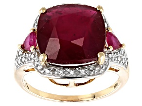 Pre-Owned Red Ruby 10k Yellow Gold Ring 7.54ctw