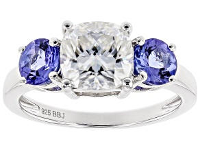 Pre-Owned Moissanite Fire® 2.00ct DEW Cushion Cut And 1.04ctw Round Tanzanite Platineve™ Ring