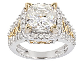 Pre-Owned Moissanite Fire® 3.66ctw DEW Platineve™ And 14k Yellow Gold Accent Over Platineve Ring