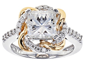 Pre-Owned Moissanite Platineve And 14k Yellow Gold Over Platineve Ring 2.82ctw DEW