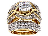 Pre-Owned White Cubic Zirconia 18k Yellow Gold Over Sterling Silver Ring With Bands 8.84ctw