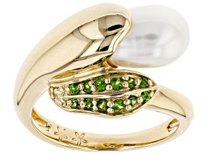 Pre-Owned 7-7.5mm Cultured Freshwater Pearl And Chrome Diopisde 18k Yellow Gold Over Sterling Silver