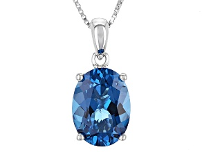 Pre-Owned London Blue Topaz Sterling Silver Solitaire Pendant With Chain 5.75ct