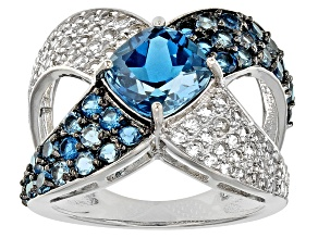 Pre-Owned London Blue And White Topaz Sterling Silver Ring 3.86ctw