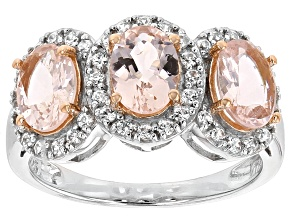 Pre-Owned Pink Morganite Sterling Silver 3-Stone Ring 2.10ctw